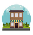 facade store building traditional street city vector image