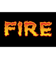 Fire textFlame typography Burning letters fiery vector image