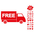 Free shipment icon with dating bonus vector image
