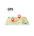 gps navigation the path on the map is indicated vector image