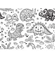 ink dinosaurs in costumes for halloween vector image