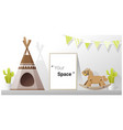 interior poster mock up frame in child room vector image