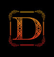 letter d with ornament vector image