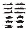 silhouette of military machines support aircraft vector image