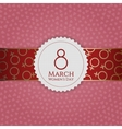 Womens Day white Banner and red golden Ribbon vector image