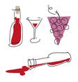 Wine silhouette set vector image
