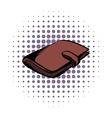 Brown wallet with card and cash comics icon vector image