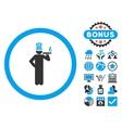 American Capitalist Flat Icon with Bonus vector image