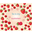 Cherry strawberry and raspberry background vector image