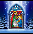 christmas stained glass window in winter forest vector image