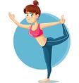 Cute Slim Girl in Yoga Pose Cartoon vector image