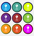 Map pointer icon sign Nine multi colored round vector image