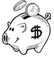 Doodle piggy bank vector image