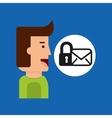 cartoon man tablet email padlock security vector image