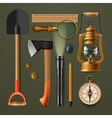 Set of camping hiking equipment vector image vector image