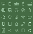 Computer line icons on green background vector image