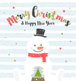 Christmas design with snowman vector image