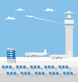 Flat design of airport with nice sky vector image