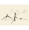 Man top mountain flag winner concept sketch vector image