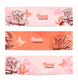 Vintage floral banners vector image