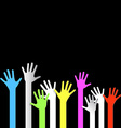 Colorful Hands on Black Background vector image