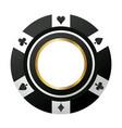 poker chip casino game black icon vector image