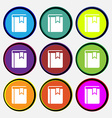 Book bookmark icon sign Nine multi colored round vector image