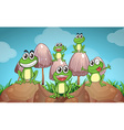 Scene with frogs and mushrooms vector image