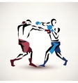 boxing couple silhouette stylized sketch vector image