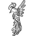 Cartoon funny bird coloring page hand drawn vector image