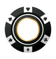 poker chip casino game black icon vector image