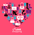 Shopping heart vector image vector image