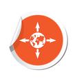 arrows AND globe ORANGE LABEL vector image vector image