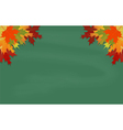 Maple leaves on green chalkboard vector image