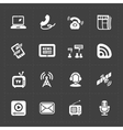 Modern flat social icons set on dark background vector image