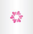 magenta hearts in circle icon design symbol love vector image