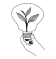 doodles of ecology bulb on hand vector image