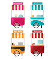 carts set retail kiosk on wheels flat vector image