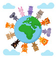 cute and funny baby animals walking around earth vector image