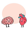 funny brain and heart character space for text vector image