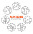 icons for allergens free products vector image