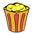 popcorn in striped bucket icon cartoon vector image