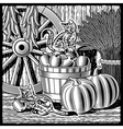 Retro barn with harvest black and white vector image