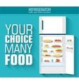 Flat fridge full of many food background concept vector image