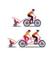 Father and mother biking with little son vector image