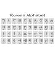 Set of monochrome icons with korean alphabet vector image