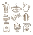Coffee Elements in Handdrawn Linear Style vector image