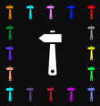 hammer icon sign Lots of colorful symbols for your vector image