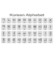 Set of monochrome icons with korean alphabet vector image