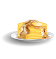 stack of pancakes and syrup vector image